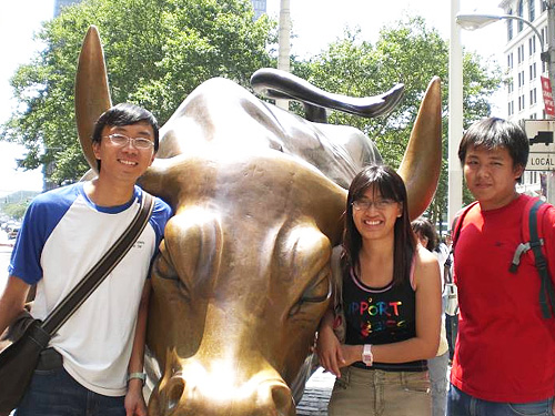 My friends and I at Wall St., New York