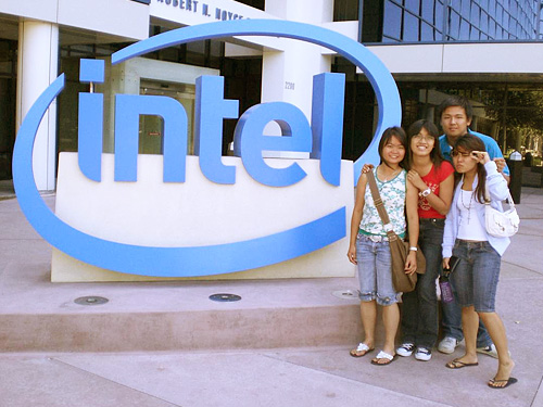 Intel logo at the entrance of Intel Museum, Silicon Valley